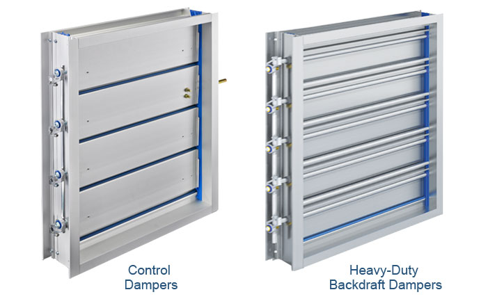 Standard Profile control dampers and Heavy-Duty backdraft dampers.