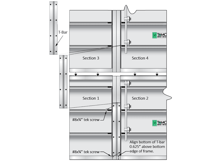 Multi-section high by multi-section wide medium-duty backdraft damper